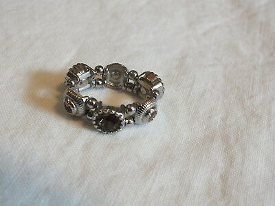 "Beautiful Silver Tone Cocktail Ring Stretch Amber Rhinestones 1/4"" Wide"