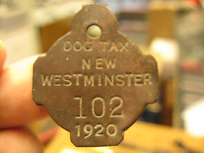 New Westminster British Columbia Canada 1920 Dog Tax License Tag