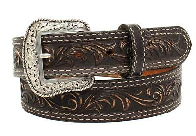 "Nocona Western Mens Belt Leather ""Pecos"" Made in USA Black N2300701"
