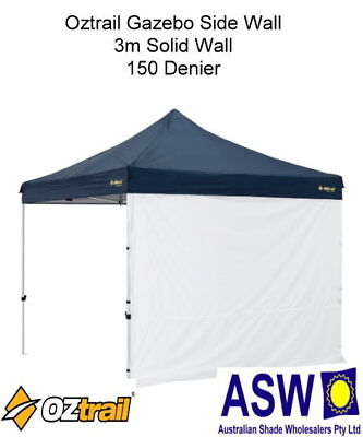 3m Oztrail WHITE Gazebo SOLID SIDE WALL Deluxe Market Stall G-OZSW3S