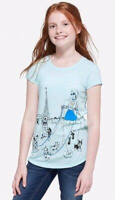 Justice Girl/'s PARIS AND PUPPIES Tee Size 14 NWT