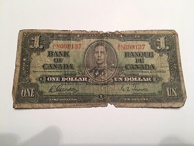 1937 Canadian One Dollar Bill Bank Of Canada Note  AL8099137
