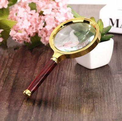 80mm 5X Hand Magnifier Wooden Handle Fresnel Lens Reading Magnifying Glass