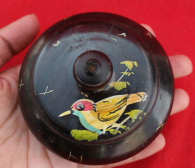 Vintage Very Beautiful Rare Tribal Hand Painted Round Wooden Opium Box