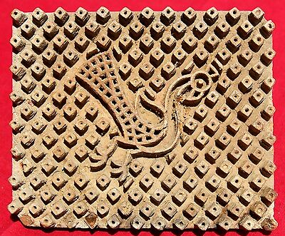 1930's Rare Wooden Hand Carved Peacock Figure Textile Printing Block,single Wood