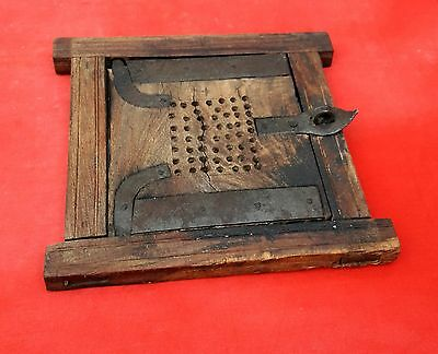 1850's ANTIQUE RARE HEAVY HAND CRAFTED WOODEN ARCHITECTURAL WINDOW