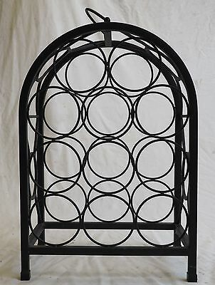 11 Bottle Wine Rack Black Steel Construction