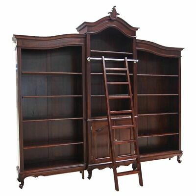 Solid Mahogany Wood Large Bookshelf With Ladder Antique Design New PRE ORDER