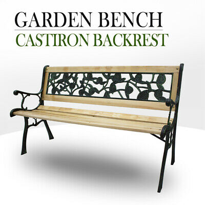 Park Bench Cast Iron Backrest Rose Pattern, Timber Hardwood Bench Garden Outdoor