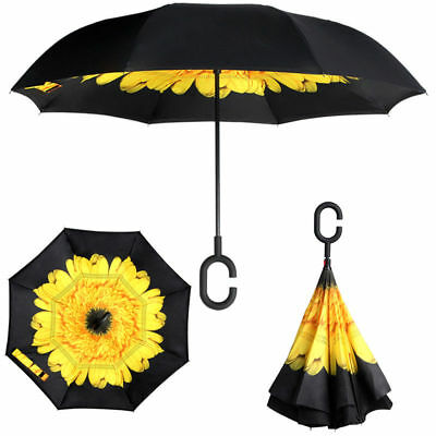 New Pokemon Go Pikachu C-Handle Car Rain Umbrella Double Layer Inverted Parasols