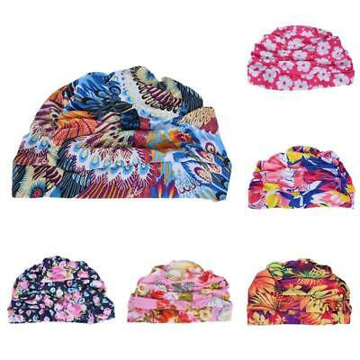 Womens Ladies Swimming Swim Cap Colorful Floral Hat Bathing Hat Long Hair Adult
