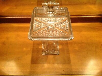 Antique Large Art Glass Compote Covered Clear, in Excellent Condiction