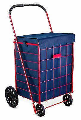 Jumbo Portable Shopping Grocery Cart Liner Folding Laundry Rolling Bag Basket