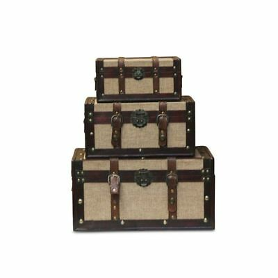 Trunk 3 Piece Set Chest Wooden Elegant Home Furniture Decor Storage Carnival New