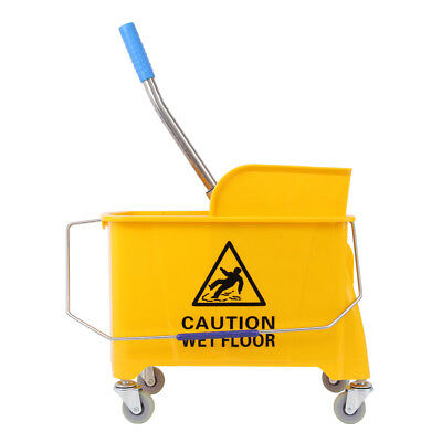 20L Commercial Wet Mop Bucket & Wringer Combo Yellow Janitorial