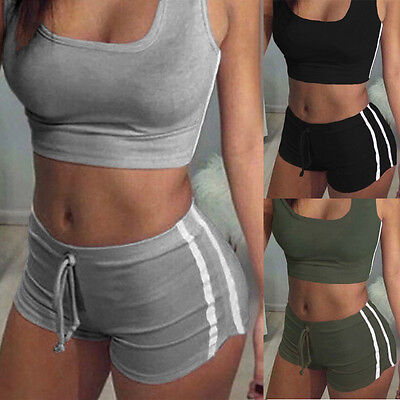 Womens Workout Suit Tracksuit Fitness Gym Yoga Sports Tops Shorts Set