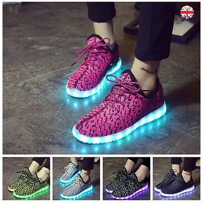 Unisex LED Lights Lace Up Shoes Men Women USB Charger Sportswear Casual Trainers