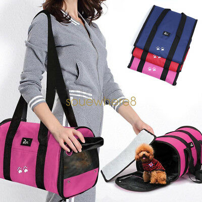 Portable Pet Dog Cat Rabbit Puppy Carrier Travel Kennel Crate Cage Bag Fabric UK