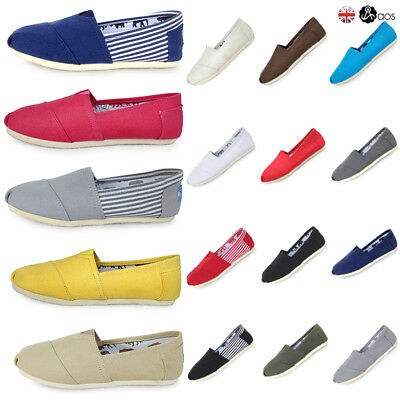 Canvas Shoes Mens Women Slip On Espadrilles Pumps Plimsolls Casual Shoes Sizes