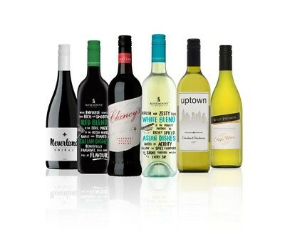 Australian Assorted White & Red Wine Mixed 6x750ml  RRP$79 Free Shipping