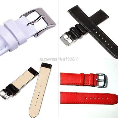 Quality Leather Watch Strap Band Women Mens Stainless Steel Buckle 12-24 mm