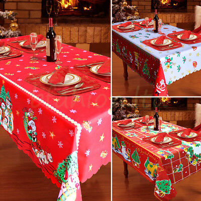 Wipe Clean Christmas Tablecloth Xmas Party Dining Kitchen Table Cover Decoration