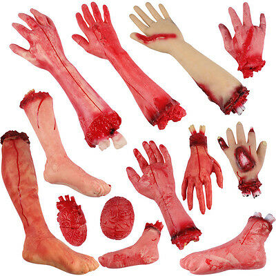 Halloween Arm Prop Zombie Hand Bloody Horror Scary Fake Severed Life Foot Finger