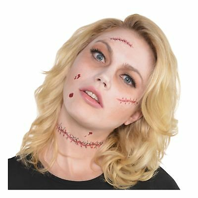 Halloween Stitched Zombie Doll Tattoo Transfers Accessory Kit Face Staple Scars