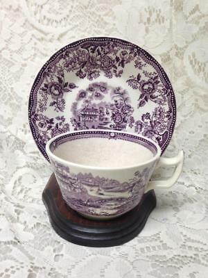 Vintage, Royal Staffordshire, England,Variant Purple-Blue Willow Cup and Saucer