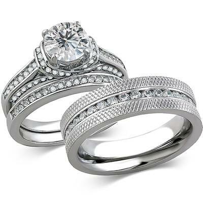 His & Hers Stainless Steel 3 Piece Cz Wedding Ring Set and Eternity Wedding Band