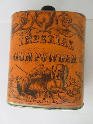 Vintage Advertising Imperial Gun Powder Tin Can Collectible Graphics  256-V