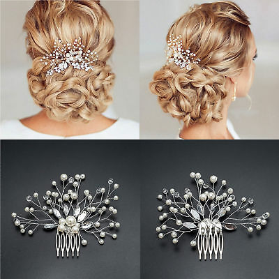 New Bridal Wedding Crystal Pearl Diamante Hair Comb Hair Piece Clip Slide