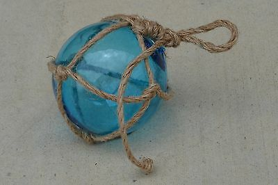 """Reproduction Blue Glass Float Ball With Fishing Net 5"""" #f-949"""