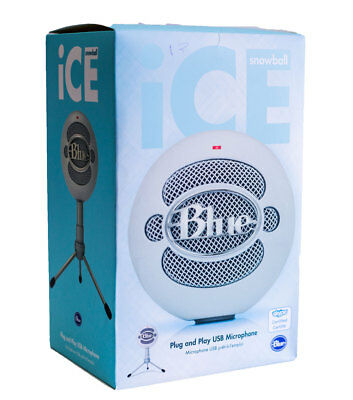 Blue Snowball Ice Plug n' Play USB Cardioid Condenser Microphone w/ Stand, White