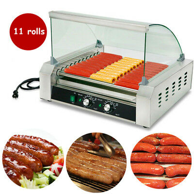 Restaurant Commercial 18 Hot Dog Hotdog 7 Roller Grill Cooker Machine w/ Cover