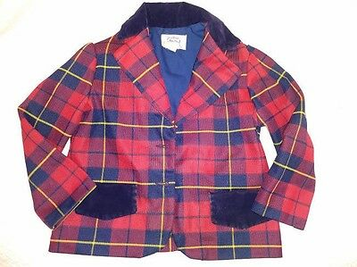 Vintage R-Gee Originals Child's Size 4T Plaid Blazer Jacket Velvet Collar Preppy