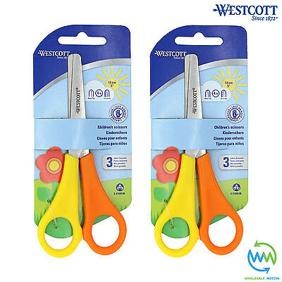 2 Pairs LEFT HANDED Children's Scissors SAFETY School Children Kids WESTCOTT NEW