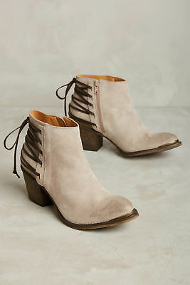 Klub Nico Berta Taupe Corset Back Weathered Suede Edgy Stacked Heel Bootie
