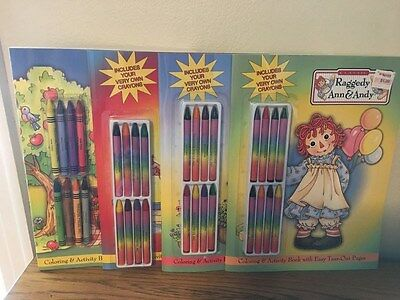 Classic Raggedy Ann & Andy Coloring & Activity Books (4) With Crayons 2003 Mint