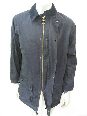BARBOUR BEAUFORT Parka Jacket Waxed Cotton Navy Blue Size SMALL