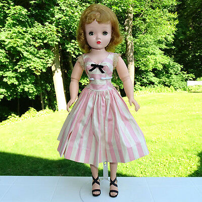 Madame Alexander Cissy Doll in Pink White Stripe Polished Cotton Dress 20 Inch