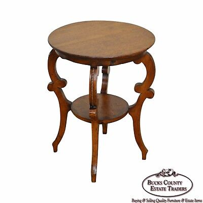 Antique Victorian Solid Oak 2 Tier Taboret Side Table