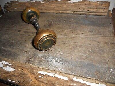 Vtg Antique Rustic Art Deco Heavy Brass Swirl Door Knobs Aged Patina Bank Find