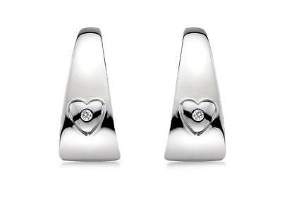 Lily & Lotty 925 Sterling Silver Real Diamonds Hoops Heart Earrings Gift Boxed