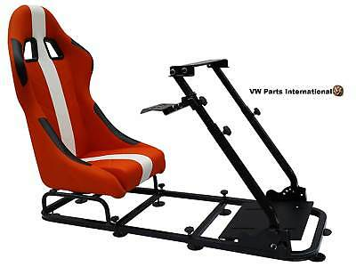 Car Gaming Racing Simulator Frame Chair Bucket Seat PC PS3 PS4 XBox Orange/White