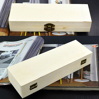 Storage Organizer Handmade Wooden Pencil Box Pen Case creux Base Blanc