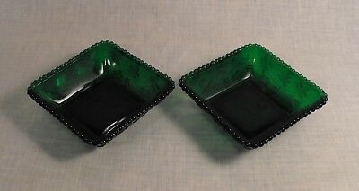 Two Vintage  Emeral Green Square Nut Candy Dishe Grapes Vine Pattern Beaded Edge