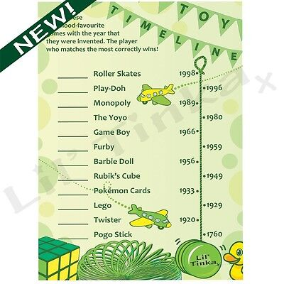 Toy Timeline Quiz - Classic Baby Shower Party Game - 10 Player - Ice Breaker