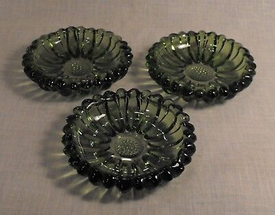 Lot 3 Three Vintage  Green Round Nut Candy Dishes Ribbed Beaded Edge