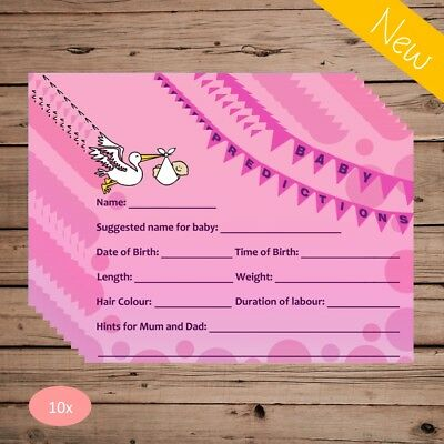 Baby Shower Prediction Advice Cards - 20 Pack - Pink Girl - Party Keepsake Game